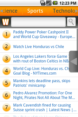 Screenshot showing Wowd hotlist for Sports